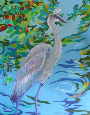 Sharon Nelsonbianco; Curious Birds MAURICE, 2014, Original Painting Acrylic, 16 x 20 inches. Artwork description: 241                  contemporary art, acrylic painting, waterscape, birds, , nature, water, tranquility, peace, wildlife, , series format, Sharon Nelson- Bianco, southern artist, , colorful, colorist, Florida, water birds, expressionist, Florida artist, Florida, wildlife, water fowl, vivid, expressionism                 ...