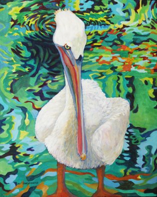 Sharon Nelsonbianco; Curious Birds RALPH, 2014, Original Painting Acrylic, 16 x 20 inches. Artwork description: 241              contemporary art, acrylic painting, waterscape, birds, , nature, water, tranquility, peace, wildlife, , series format, Sharon Nelson- Bianco, southern artist, , colorful, colorist, Florida, water birds, expressionist, Florida artist, Florida, wildlife, water fowl, vivid, expressionism             ...
