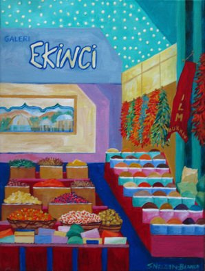 Sharon Nelsonbianco; Ekinci Turkish Bazaar, 2013, Original Painting Acrylic, 12 x 16 inches. Artwork description: 241 contemporary art, acrylic painting, waterscape, birds, , nature, water, tranquility, peace, wildlife, , series format, Sharon Nelson- Bianco, southern artist, , colorful, colorist, Florida, water birds, expressionist, Florida artist, Florida, wildlife, water fowl, vivid, expressionism, Europe, Streets, Buildings, Travel, Indoors, Shops, Turkey       ...