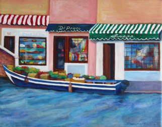 Sharon Nelsonbianco; Venice Canal Produce Boat, 2013, Original Painting Acrylic, 16 x 12 inches. Artwork description: 241 contemporary art, acrylic painting, waterscape, birds, , nature, water, tranquility, peace, wildlife, , series format, Sharon Nelson- Bianco, southern artist, , colorful, colorist, Florida, water birds, expressionist, Florida artist, Florida, wildlife, water fowl, vivid, expressionism, Europe, Italy, travel, shops, indoor     ...