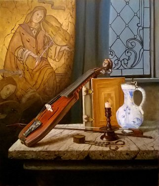 Slava Chylikin; Violin And Book, 2017, Original Painting Oil, 60 x 70 cm. Artwork description: 241 A modern look at old things. Keywords Violin, book, frescoes ...