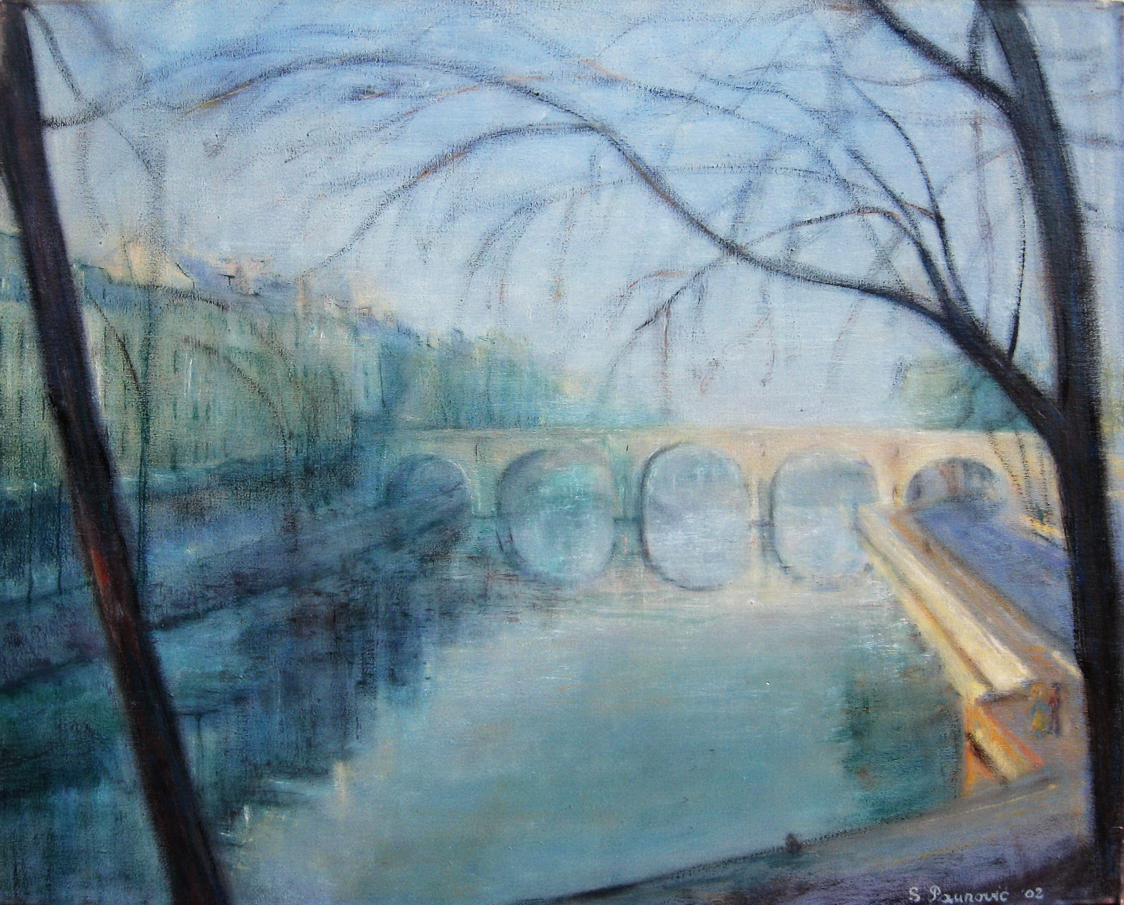 Slobodan Paunovic; Le Pont Marie Paris, 2010, Original Painting Oil, 40 x 50 inches. Artwork description: 241 Original workBuying directly from the autorFree shipping...