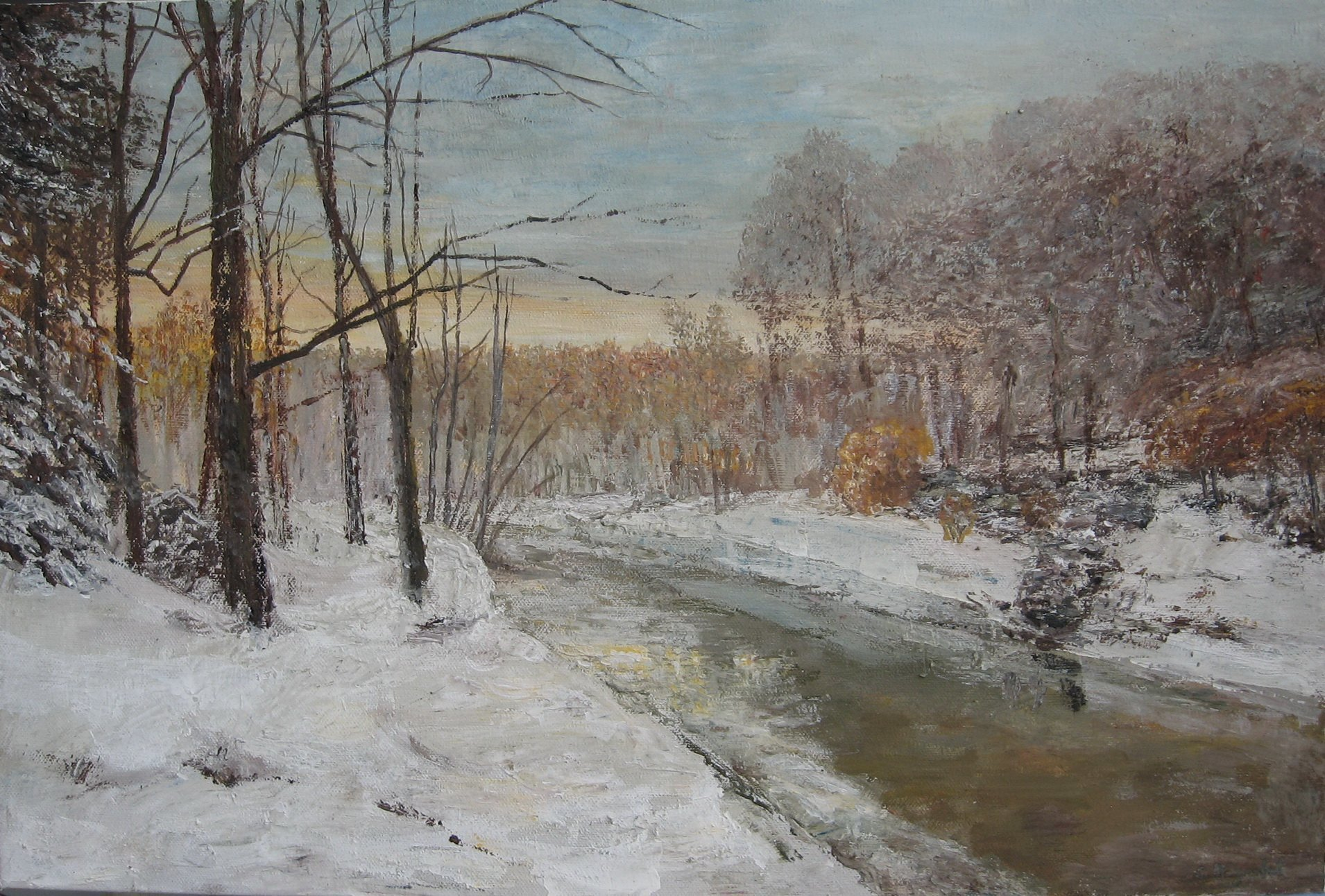 Slobodan Paunovic; Winter Motif With River, 2016, Original Painting Acrylic, 23.6 x 15.7 inches. Artwork description: 241 landscape, paintings, winter, ...