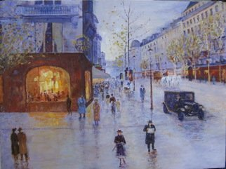 Slobodan Paunovic; Along The Street 1930 Y, 2017, Original Painting Oil, 31 x 24 inches. Artwork description: 241 paintings, paris, love, people, oil on canvas, ...