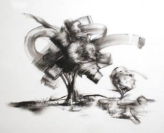 Paul Fitzgerald; Swirling Wind, 2010, Original Drawing Charcoal, 19 x 24 inches. Artwork description: 241  Abstract technique continued with a more recognizable object, a tree landscape ...