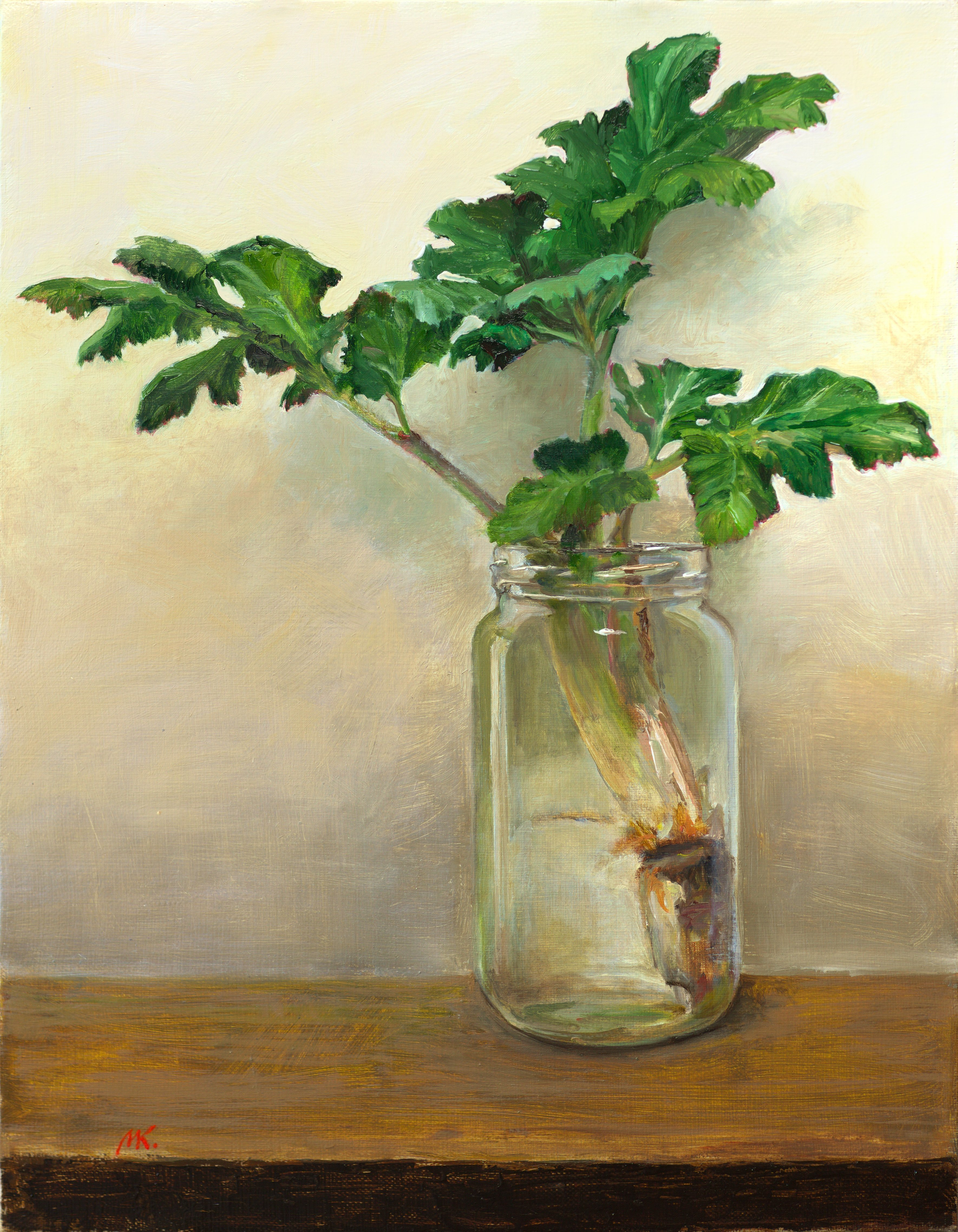 Mikhail Velavok; A Plant, 2017, Original Painting Oil, 13.8 x 17.7 inches. Artwork description: 241 Original oil on canvas stretched on a wooden underframe. The artwork is being sold unframed. The frame in the additional photo is an example only.hogweed, still life, jar, glass, plant, leaf, green, yellow, brown...