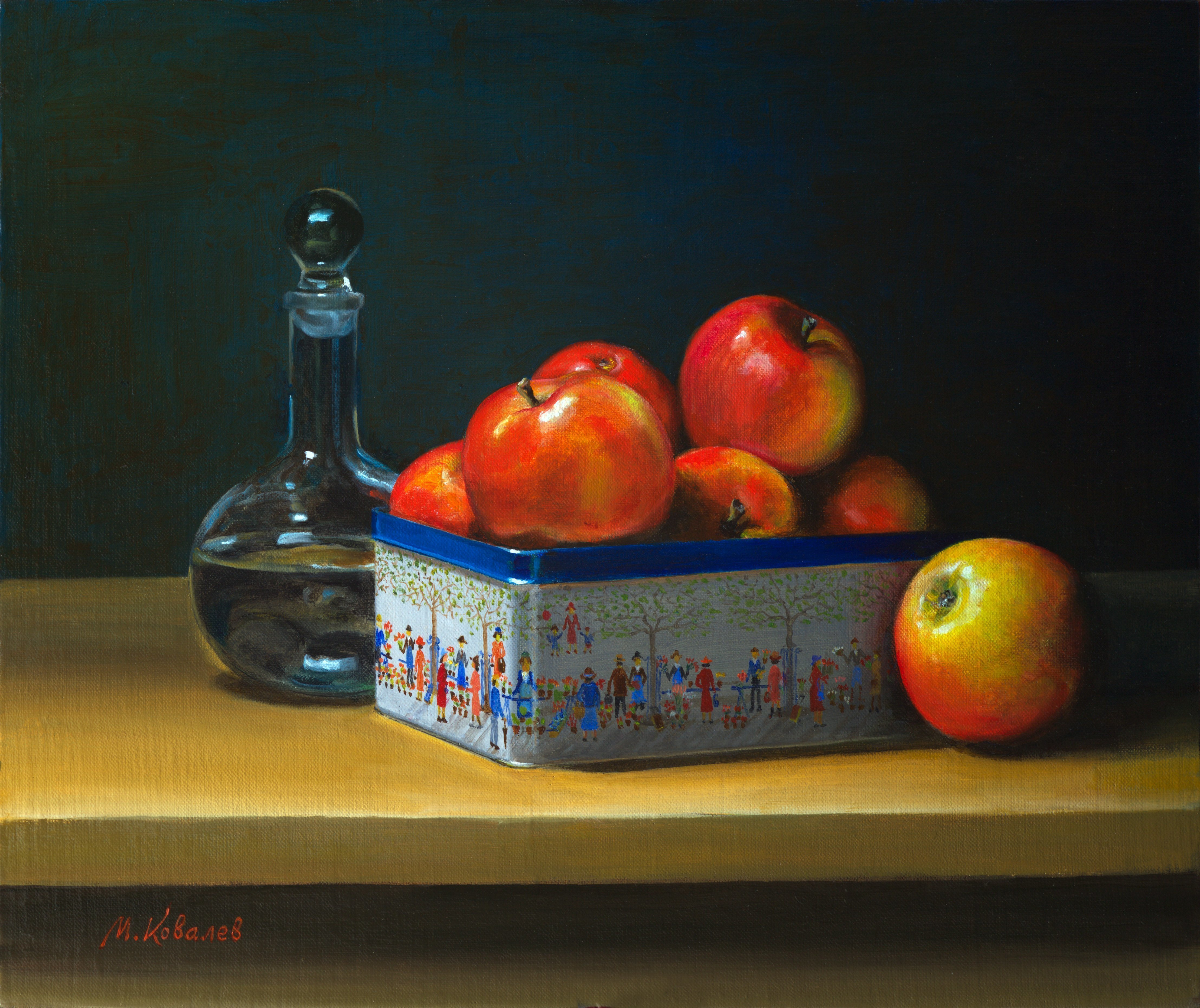Mikhail Velavok; Apple Box, 2016, Original Painting Oil, 19 x 16 inches. Artwork description: 241  apple, box, carafe, decanter, table, still life, red, yellow, dark...
