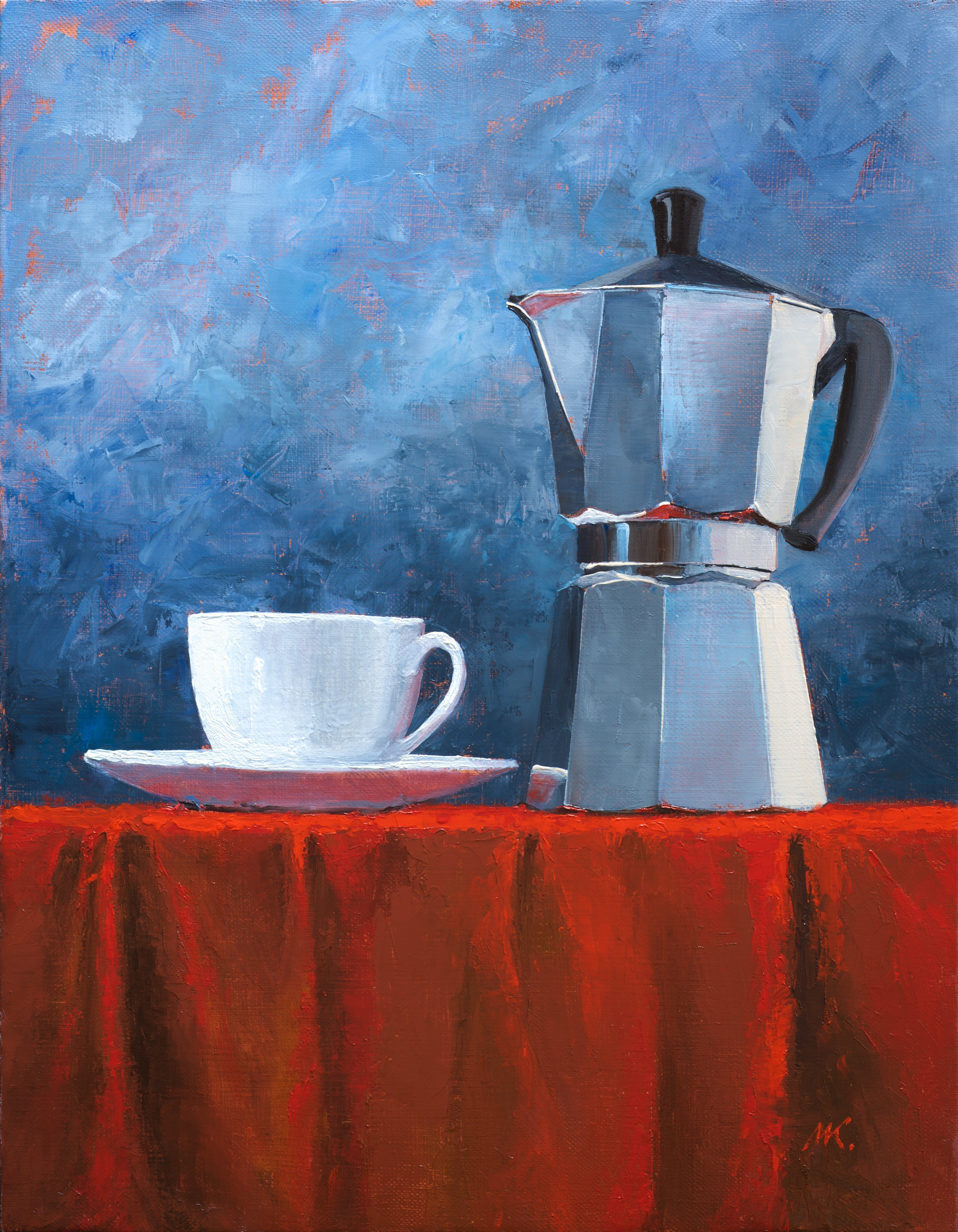 Mikhail Velavok; Moka , 2017, Original Painting Oil, 17.5 x 13.5 inches. Artwork description: 241 Original oil painting on canvas. The work is being sold unframed.cup, white cup, coffee, coffeepot, bialetti, moka pot, moka, mokha, red, wrinkle, fold, fabric, red fabric, tablecloth, still life, roasted coffee, dark roasted coffee...