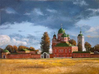 Mikhail Velavok; September, 2015, Original Painting Oil, 16 x 12 inches. Artwork description: 241  Russia, monastery, cathedral, autumn, storm, cloud, field, yellow, red...