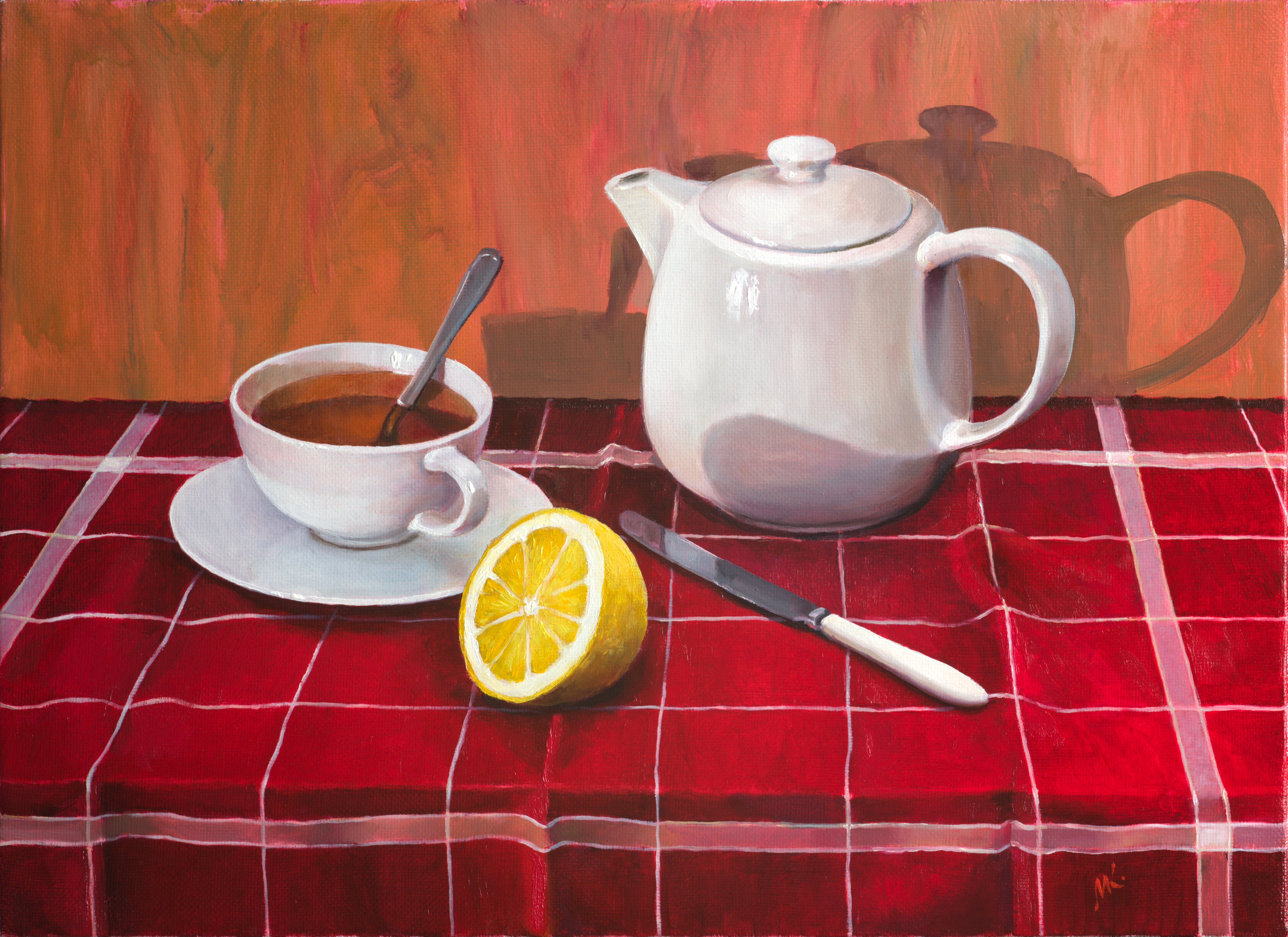 Mikhail Velavok; Tea With Lemon comp 3, 2018, Original Painting Oil, 55 x 40 cm. Artwork description: 241 Original oil painting on stretched canvas. The artwork is being sold unframed. The frame in the additional photo is an example only.tea, lemon, teapot, cup, knife, still life, red, checkered, fold, original...