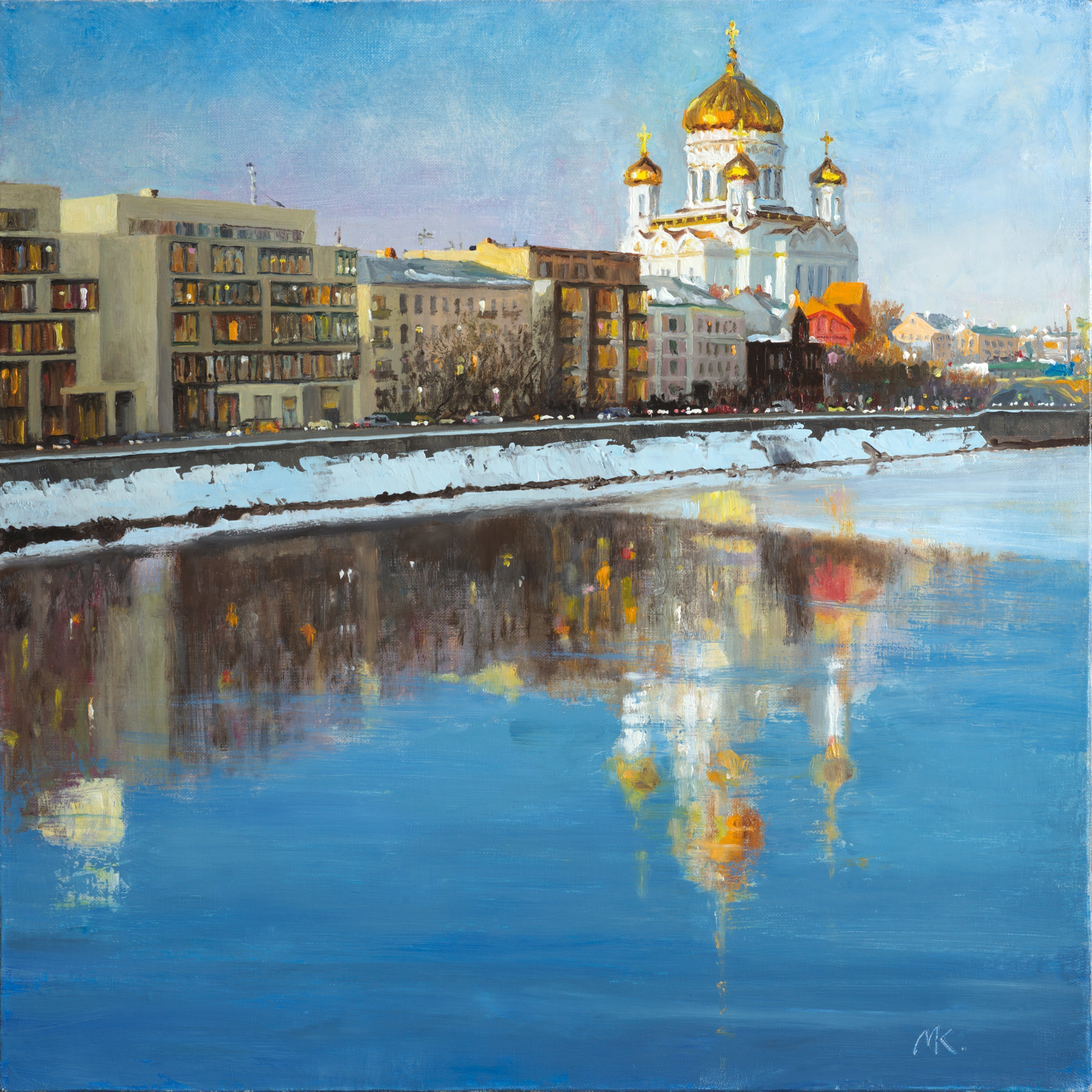 Mikhail Velavok; The Embankment, 2016, Original Painting Oil, 20 x 20 inches. Artwork description: 241  evening, embankment, city, cityscape, cathedral, street, sunset, water, river, winter, reflection, building...