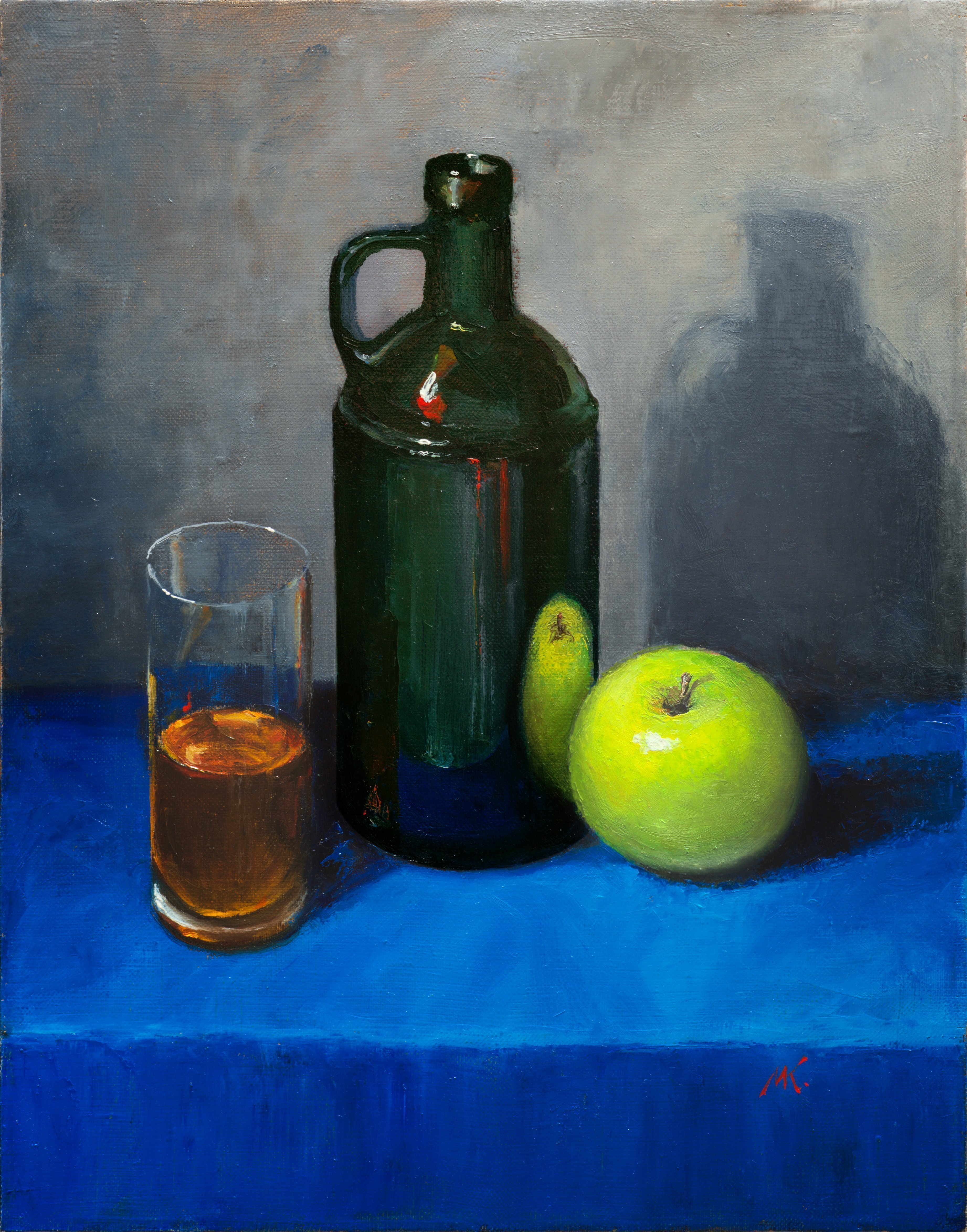 Mikhail Velavok; blue table, 2017, Original Painting Oil, 13.8 x 17.7 inches. Artwork description: 241 Original oil painting on canvas. The work is being sold unframed. The frame in the additional photo is an example only.apple, green apple, shadow, glass, bottle, bottle glass, green glass, dark, blue...
