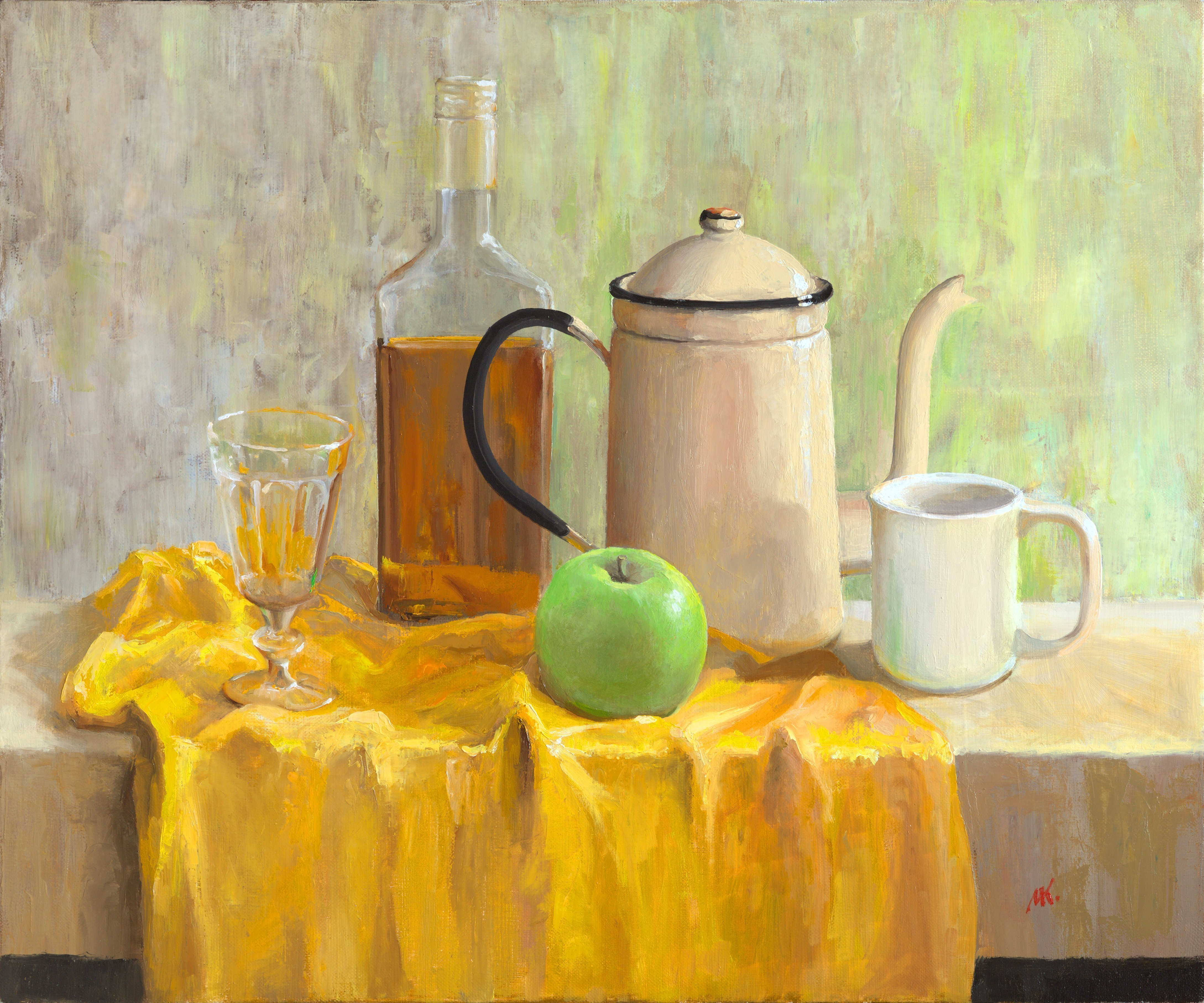 Mikhail Velavok; green apple, 2017, Original Painting Oil, 23.6 x 19.7 inches. Artwork description: 241 Original oil on canvas stretched on a wooden underframe. The artwork is being sold unframed. The frame in the additional photo is an example only.still life, apple, green apple, mug, cup, glass, wineglass, bottle, bottle glass, alcohol, coffeepot, coffee pot, wrinkle, fold, yellow, fabric...