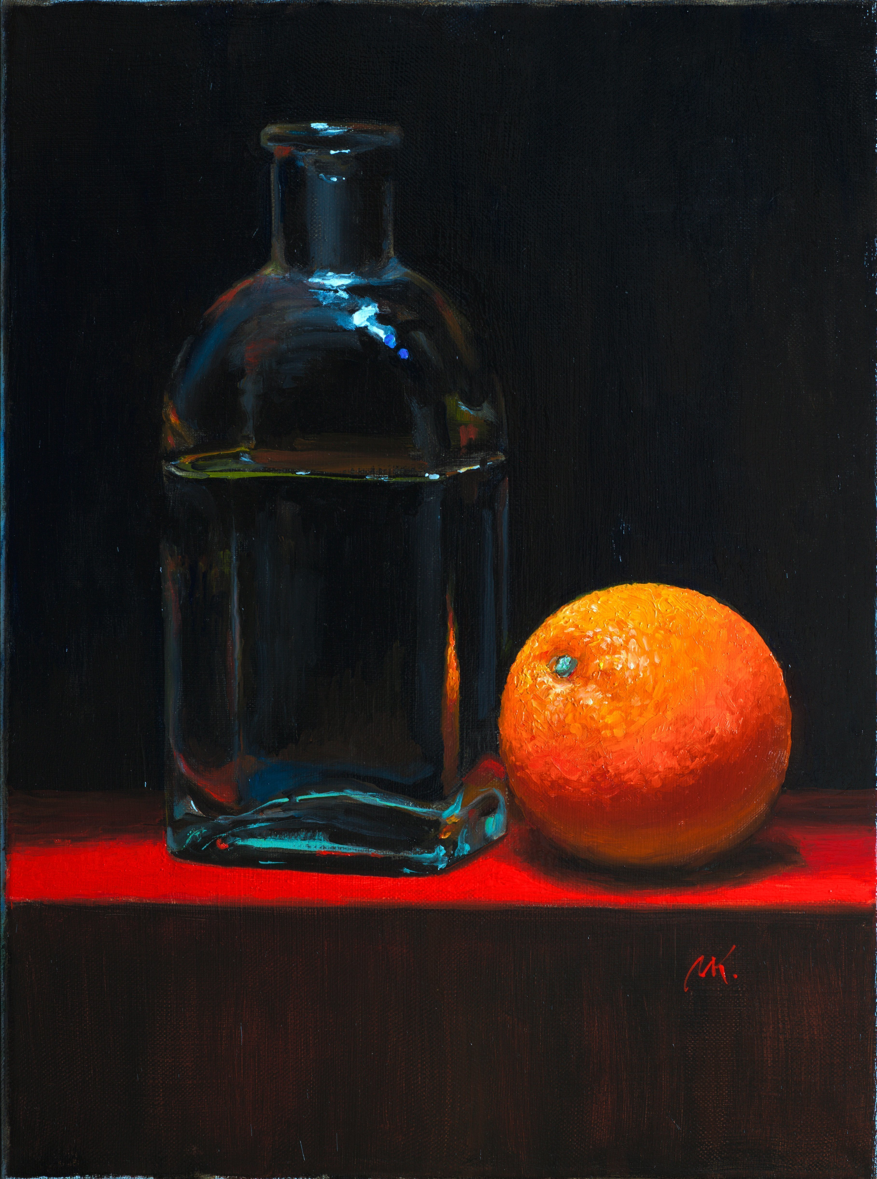 Mikhail Velavok; orange, 2017, Original Painting Oil, 11.8 x 15.7 inches. Artwork description: 241 Original oil on canvas stretched on a wooden underframe. The artwork is being sold unframed. The frame in the additional photo is an example only.orange, red, dark, glass, bottle...