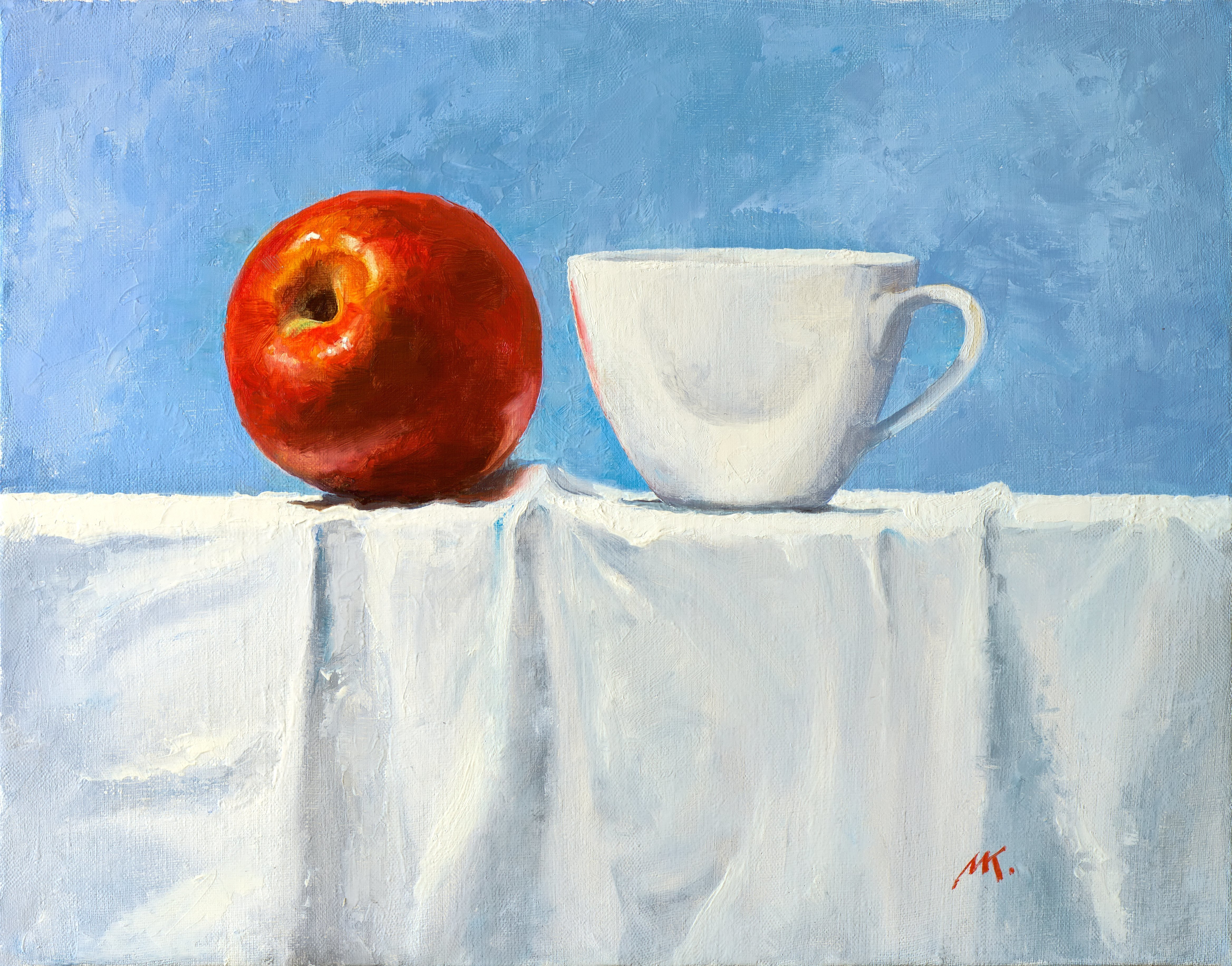 Mikhail Velavok; red white, 2017, Original Painting Oil, 17.5 x 13.5 inches. Artwork description: 241 Original oil painting on canvas. The work is being sold unframed. The frame in the additional photo is an example only.still life, apple, red apple, cup, white cup, red, white, wrinkle, fold, fabric, white fabric, tablecloth...
