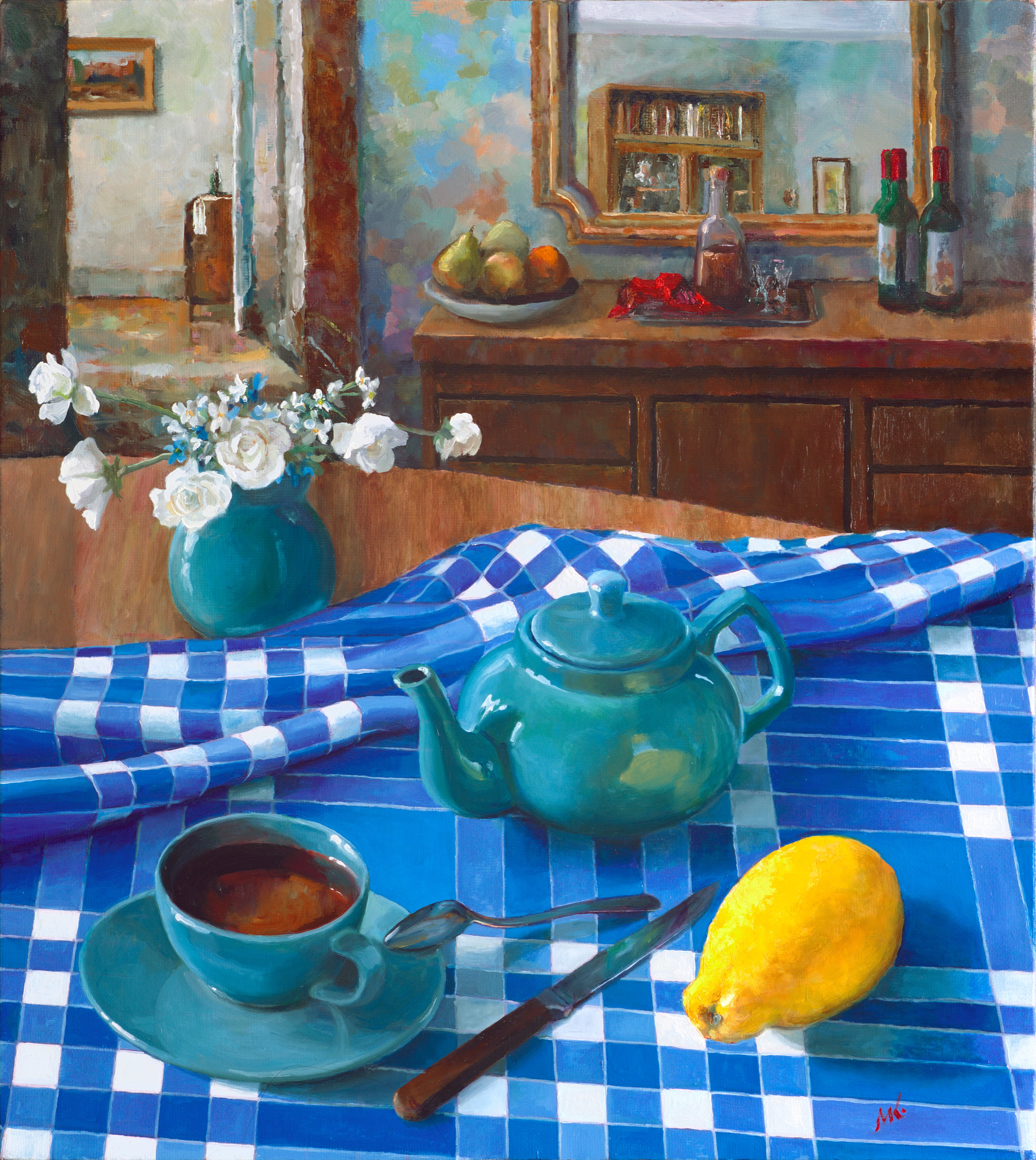 Mikhail Velavok; tea with lemon comp 2, 2018, Original Painting Oil, 50 x 56 cm. Artwork description: 241 Original oil painting on stretched canvas. The artwork is being sold unframed. The frame in the additional photo is an example only.tea, lemon, teapot, cup, still life, blue, checkered, fold, room, interior...
