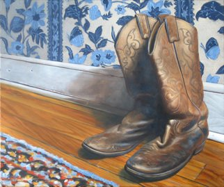 Steve Miller; Daddys Home, 2008, Original Painting Oil, 20 x 24 inches. Artwork description: 241  Western Cowboy boots wooden floor  ...