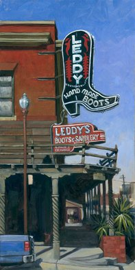 Steve Miller; Leddys, 2010, Original Printmaking Giclee, 12 x 24 inches. Artwork description: 241    boots leddys footwear Fort Worth Stockyards Texas western limited edition giclee print signed numbered historic   ...