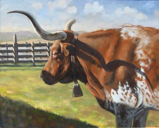 Steve Miller; Red Bull, 2009, Original Painting Oil, 16 x 20 inches. Artwork description: 241 Texas longhorn Stockyards bull cow western ...