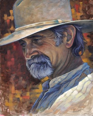 Steve Miller; Regret, 2011, Original Painting Oil, 16 x 20 inches. Artwork description: 241     Western Fort Worth Stockyards cowboy hat beard  ...