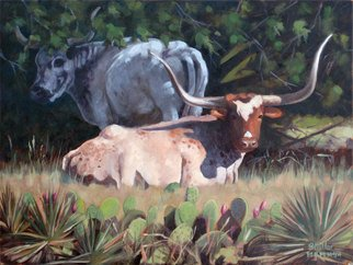 Steve Miller; Resting, 2009, Original Painting Oil, 16 x 12 inches. Artwork description: 241  Texas longhorn hill country cactus yuca lansacape bulls cattle steer horns    ...