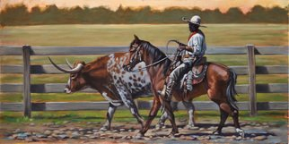 Steve Miller; The Red Bandana, 2011, Original Painting Oil, 24 x 12 inches. Artwork description: 241    Western Fort Worth Stockyards Black cowboy longhorn cattle bull bandana horse steer  ...