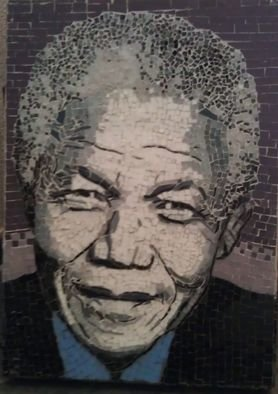 Dalene Smit; Madiba, 2012, Original Mosaic, 31 x 43 cm. Artwork description: 241   stained glass on wood  ...