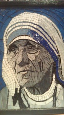 Dalene Smit; Mother Teresa, 2013, Original Mosaic, 22 x 30 cm. Artwork description: 241  stained glass on wood ...