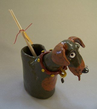 Suzanne Noll; Brown And Tan Dog Oil Ree..., 2011, Original Ceramics Handbuilt, 4 x 6 inches. Artwork description: 241      Here is a great way to decorate your home while sitting back taking in the beautiful aroma of the included vanilla oil rattan reed diffuser. This ceramic dog vase holds a refillable . 5 fl oz. vial and 5 reeds that is easy to remove. The reeds provided ...