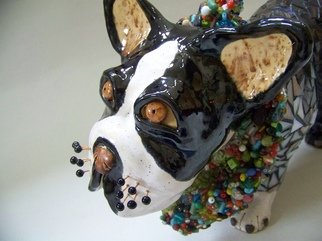 Suzanne Noll; Chipper, 2007, Original Sculpture Ceramic, 18 x 13 inches. Artwork description: 241    Chipper is a Boston Terrier Dog Sculpture made of high fired clay and glazes with mosaics of stained glass, broken mirror and beads. The whiskers are made of copper wire with polymer clay balls at the ends.As with all my creations, Chipper is a handmade, signed, ...