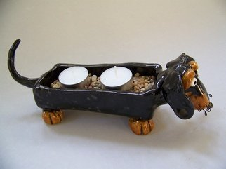 Suzanne Noll; Dachshund Dog Tea Candle ..., 2011, Original Ceramics Handbuilt, 3.5 x 4 inches. Artwork description: 241       This cute little Doxie candle holder is great decor for any Dachshund lover. The ceramics are made of high fire ceramics and various glazes. I added whiskers made of black wire that are curled at the tips. Two white tea candles and brown pebbles included.As with ...