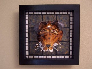 Suzanne Noll; Foxy Terror, 2006, Original Mosaic, 15 x 15 inches. Artwork description: 241    Foxy Terror is a Fox Terrier dog mask made of high fire clay and various glazes. Foxy is inlaid in handmade tiles and white marble inside of a black wooden frame. The whiskers are of white wire and handmade polymer clay balls at the tips.As with ...
