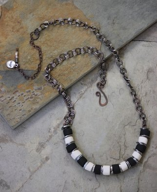 Suzanne Noll; Whimsical Handmade Black ..., 2014, Original Jewelry, 25.5 x  inches. Artwork description: 241       This beautiful, one- of- a- kind, whimsical necklace is hand crafted of porcelain beads, mixed metal with the use of numerous glazes with a copper and metal chain. Finally it is topped it off with a glass beads on the extension chain. Each porcelain bead is carefully ...