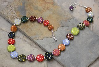 Suzanne Noll; Whimsical Handmade Porcel..., 2014, Original Jewelry, 24 x  inches. Artwork description: 241        This beautiful, one- of- a- kind, whimsical necklace is hand crafted of porcelain beads, numerous glazes, with a silver plated chain, a silver toned lobster clasp and topping it off with a beautiful handmade porcelain bead on the extension chain. Each porcelain bead is carefully hand formed ...