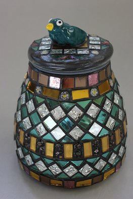 Suzanne Noll;  Mosaic, Decorative Jar W..., 2012, Original Ceramics Handbuilt, 6 x 9 inches. Artwork description: 241  I incorporated the Renaissance style when design this glass jar. I loved the way by boxes and mirrors turned out so I wanted to include a matching jar but add my style by including the bird on top. This is a decorative jar only that must be ...