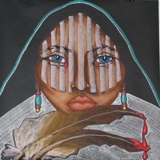 Jacqueline Rudolph; Female Plight, 2007, Original Pastel, 36 x 36 inches. Artwork description: 241    expressionistic portrait of Native American women.   ...