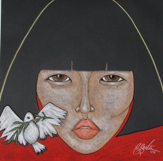 Jacqueline Rudolph; New Beginning, 2007, Original Pastel, 36 x 36 inches. Artwork description: 241     expressionistic portrait of Asian women.    ...