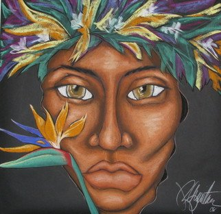 Jacqueline Rudolph; Paradise, 2007, Original Pastel, 36 x 36 inches. Artwork description: 241       expressionistic portrait of Hawaiian women.      ...