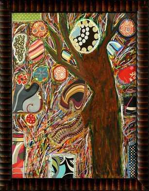 Sona Mirzaei; Tree Party , 2009, Original Mixed Media, 30 x 40 inches. Artwork description: 241   Tree Party - 30x40 - Mix Media - Foam board; medium/ heavy body- acrylics; fabric; rhinestones; sequins; glitter and metal, framed 36x 46. 2. Tree Party - - It was a visit to The Huntington Gardens that called to mind the fanciful tastes I had as a child with imaginary tea parties ...