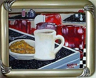 Sophia Stucki; American Pie, 2002, Original Painting Acrylic, 10 x 8 inches. Artwork description: 241  American Pie is in a 50s diner framed and ready to hang , coffee, apple pie old diner, Retro...