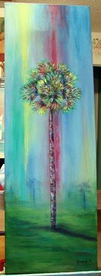Sophia Stucki; Colorful Palm Tree, 2007, Original Painting Acrylic, 12 x 36 inches. Artwork description: 241  Pastel colorful palm tree 12x36 gallery canvas 1 12 deep painted all around edges no need for framing all my work is original Sophia Stucki Jacksonville Florida...