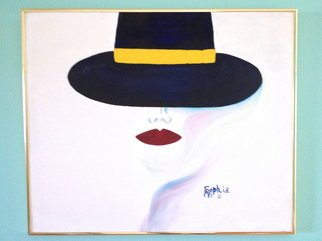 Sophia Stucki; Lady In Blue, 1981, Original Painting Oil, 20 x 24 inches. Artwork description: 241 Oil, Blue Hat, Red Lips, framed, silhouette...