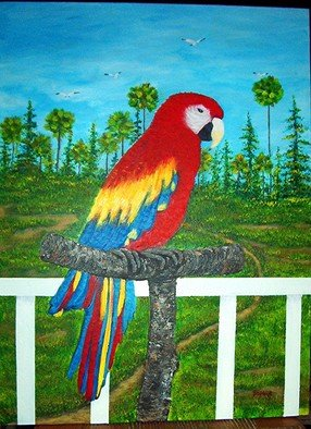Sophia Stucki; Parrot  View From The Por..., 2003, Original Painting Acrylic, 18 x 24 inches. Artwork description: 241  Parrot View from the porch is 18x24 inches34deep finished edge no need for framing ready to hang Marsh, Seagulls, Palm trees...