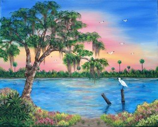 Sophia Stucki; Peaceful Marsh, 2006, Original Painting Acrylic, 30 x 24 inches. Artwork description: 241  Gallery canvas 1 12 deep painted on edges so no framing is needed. Marsh with live Oak and spanish Moss white egret sitting on old post in the water flowers and beach shoreline...