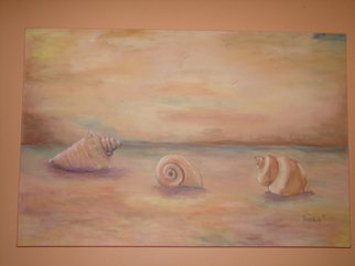 Sophia Stucki; Seashells On The Beach, 2007, Original Painting Acrylic, 36 x 24 inches. Artwork description: 241  Three large seashells on the beach , gallery canvas no need to frame . wire attached ready to hang. ...
