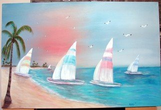 Sophia Stucki; Sailboats , 2007, Original Painting Acrylic, 36 x 24 inches. Artwork description: 241  24x36 Gallery canvas painting goes all the way around the edges so no framing is needed 1 12 deep pastel colors. . origianl art by Sophia Stucki Jacksonville Florida...