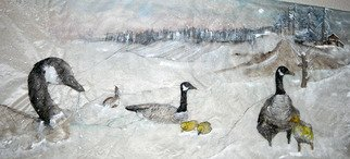 Debbi Chan, 'geese for jackie', 2010, original Watercolor, 32.5 x 13.5  inches. Artwork description: 93783  majestic geese in a majestic landscape. . and there is willow. ...