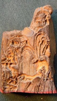 Debbi Chan, 'landscape  in moose', 2010, original Bas Relief, 3 x 3  inches. Artwork description: 93783    this is another piece of moose antler that i carved in rather deep relief and it can be used as a chop. the detail is amazing. ...