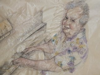 Debbi Chan, Van gogh in chinese style, 2013, Original Watercolor, size_width{wise_woman_on_keys-1369428772.jpg} X 12 inches