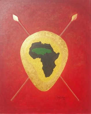 Gregory Roberson; Afrika And Jamaica Linked , 2016, Original Painting Acrylic, 16 x 20 inches. Artwork description: 241   Original acrylic painting on canvas. Part of my Spears and Shield collection. Symbolic and cultural ties between the continent of Afrika and the island of Jamaica.  ...